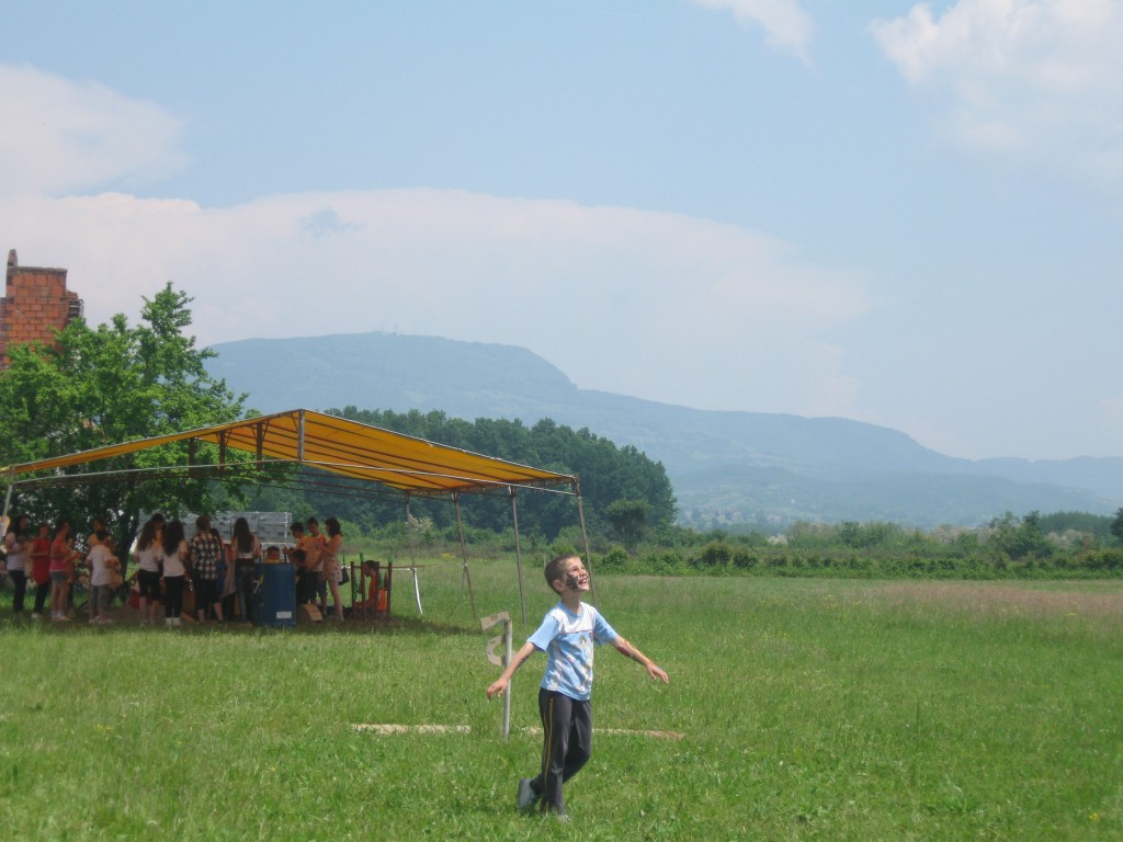 A student of mine dancing in the former war fields of Northwest Bosnia.
