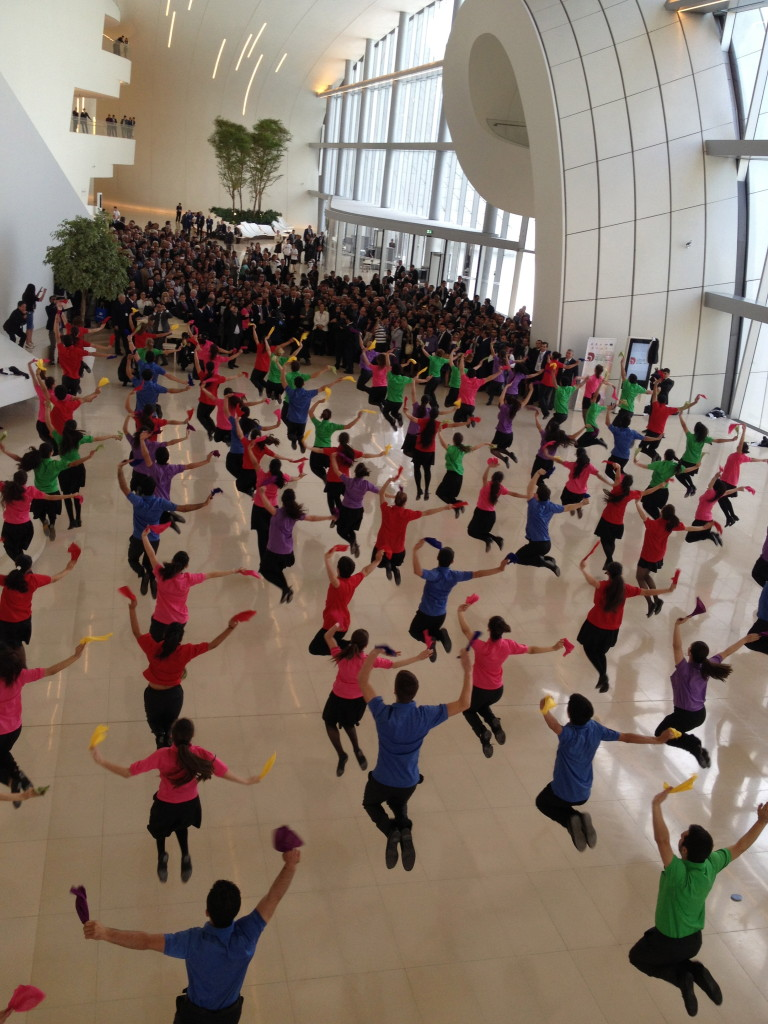 A jovial flash mob by young dancers at the Heydar Aliyev Center.