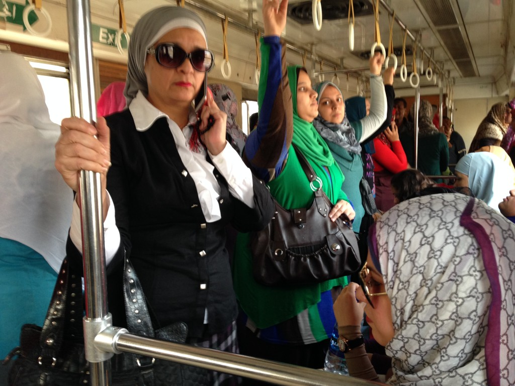 Women in the LADIES car of the Metro.