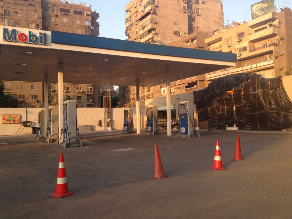 Gas station on Gameat Al Dewal opens each day but closes at 6pm. Photo by Mohamed Radwan.