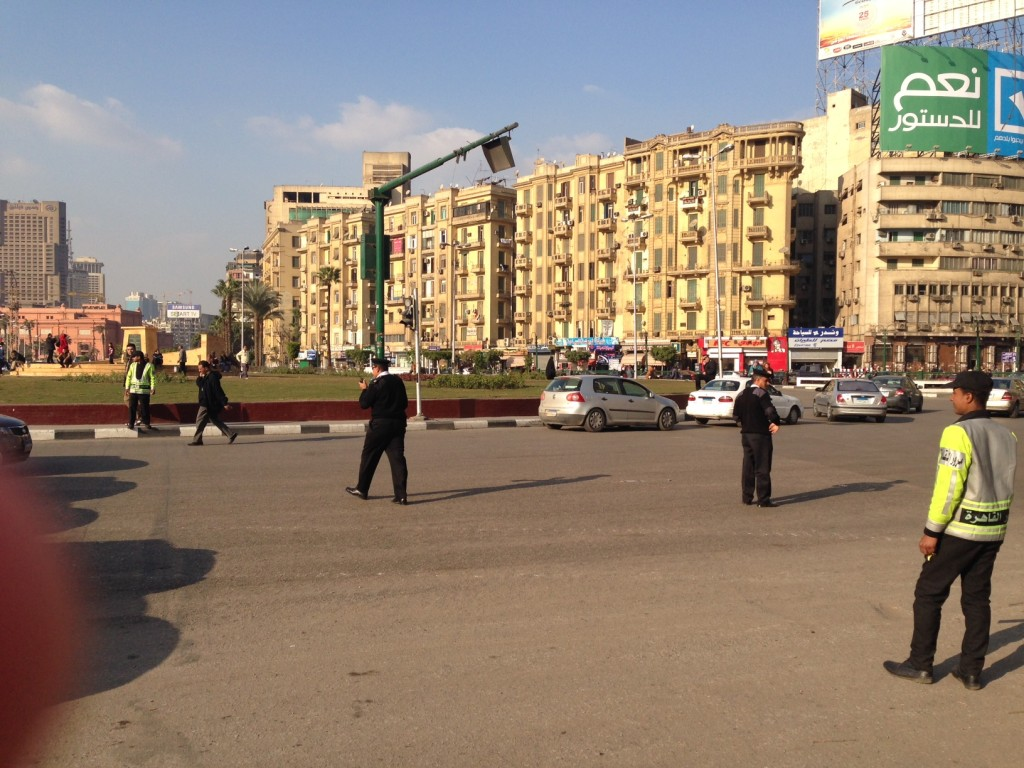 """""""Vote Yes"""" sign over beautified Tahrir Square"""